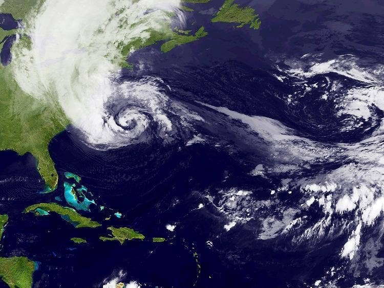 A satellite image of Hurricane Sandy