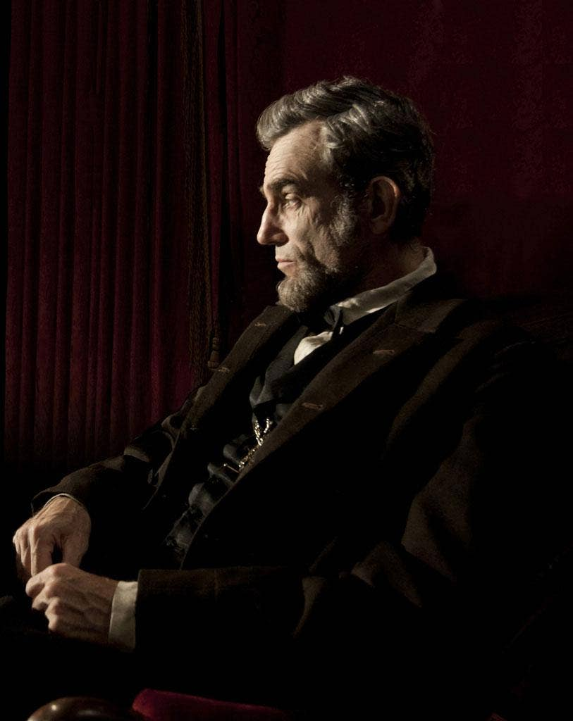 Daniel Day-Lewis portraying Abraham Lincoln in the film 'Lincoln'