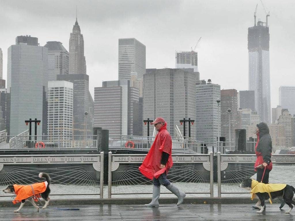 The Brooklyn waterfront beneath the New York skyline as Hurricane Sandy advances on the city