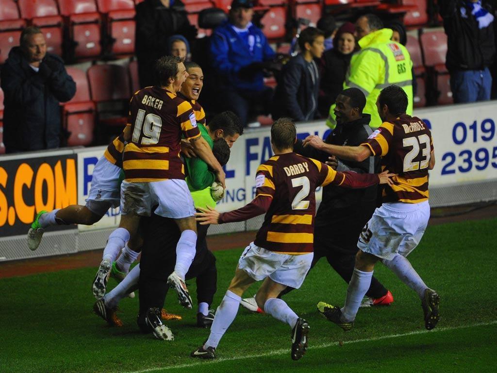 Bradford celebrate victory over Wigan