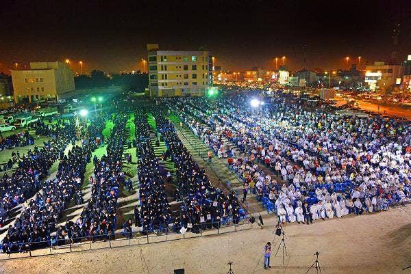 More than 2,500 Shia gather to listen to speeches against the government of King Hamad in Moqsha, Bahrain, on Oct. 11. The Shiite population, which is about 50 percent of Bahrain, has sustained a campaign of civil unrest in the country starting in 2011.