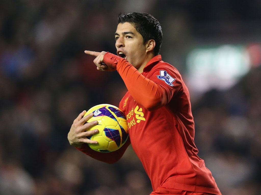 Suarez celebrates scoring his equaliser for Liverpool