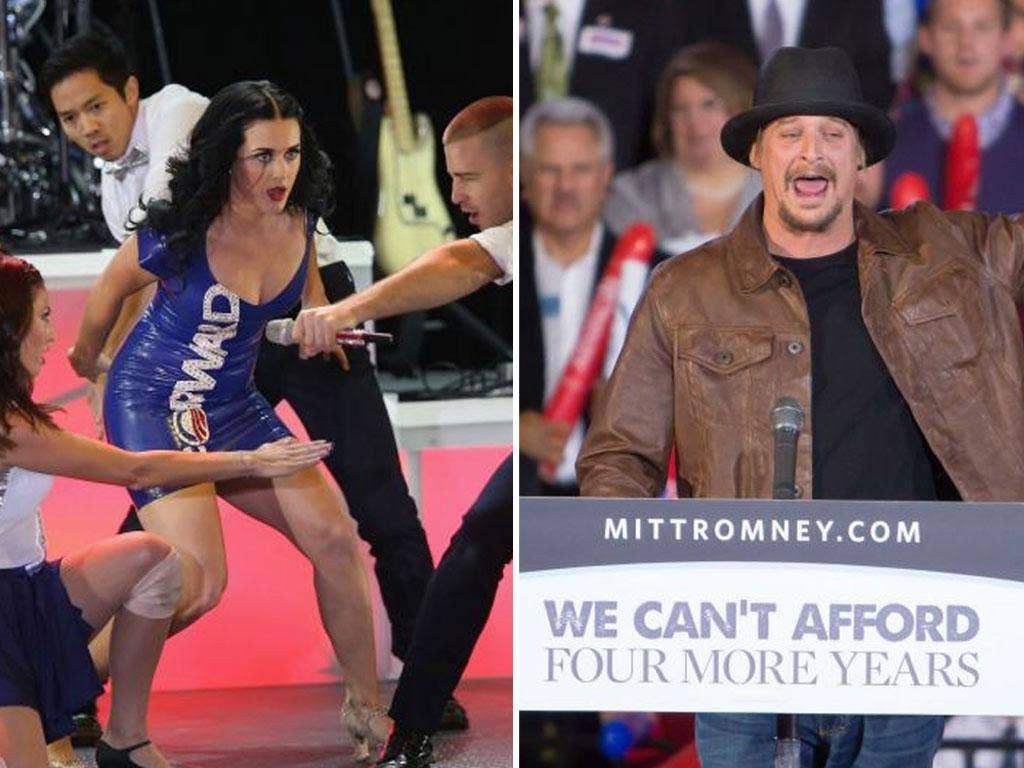 Katy Perry at an Obama event in Milwaukee, left, and Kid Rock campaigns for the Romney camp