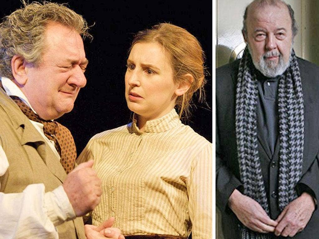 Laura Carmichael and Ken Stott in Chekhov's Uncle Vanya; right, Sir Peter Hall