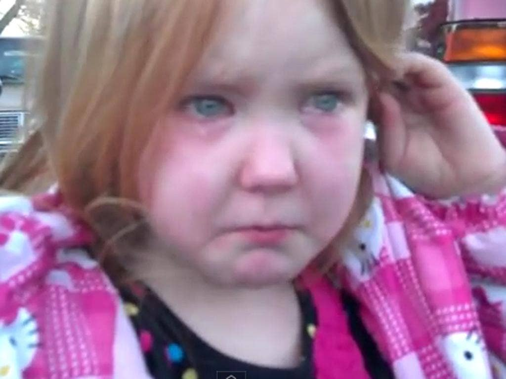Four-year-old Abigael Evans was reduced to tears by all the election campaigning