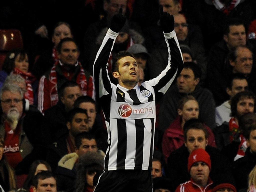 Newcastle midfielder Yohan Cabaye celebrates a goal at Anfield