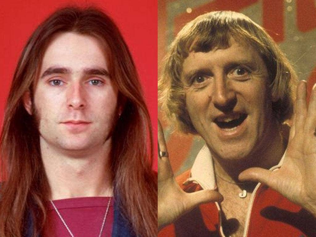 Francis Rossi aged 18 (left) and Jimmy Savile