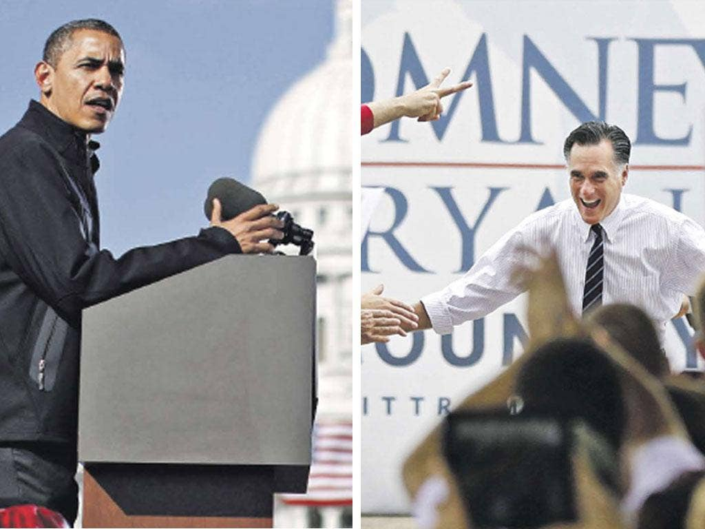 Barack Obama addresses a rally in Madison, Wisconsin, yesterday (right) and Mitt Romney greets supporters in Sanford, Florida, yesterday