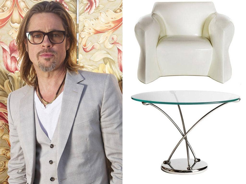 Brad Pitt and two of his designs