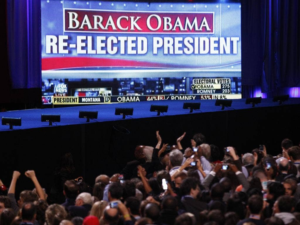Barack Obama supporters cheer the news of the president's apparent re-election during his election night rally in Chicago
