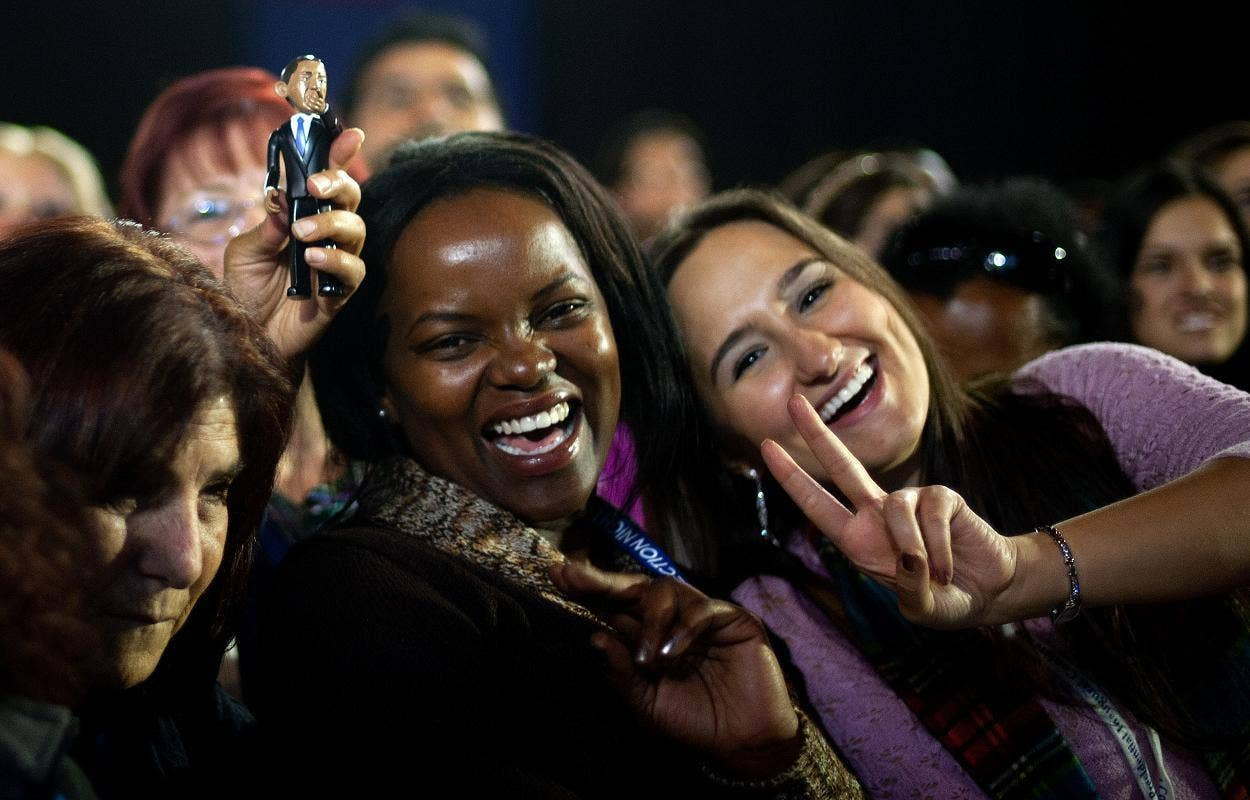 Voters celebrate Obama's victory
