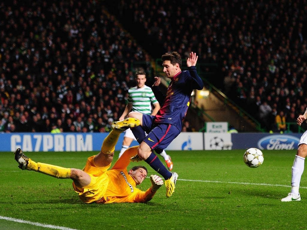 Lionel Messi is denied by Celtic