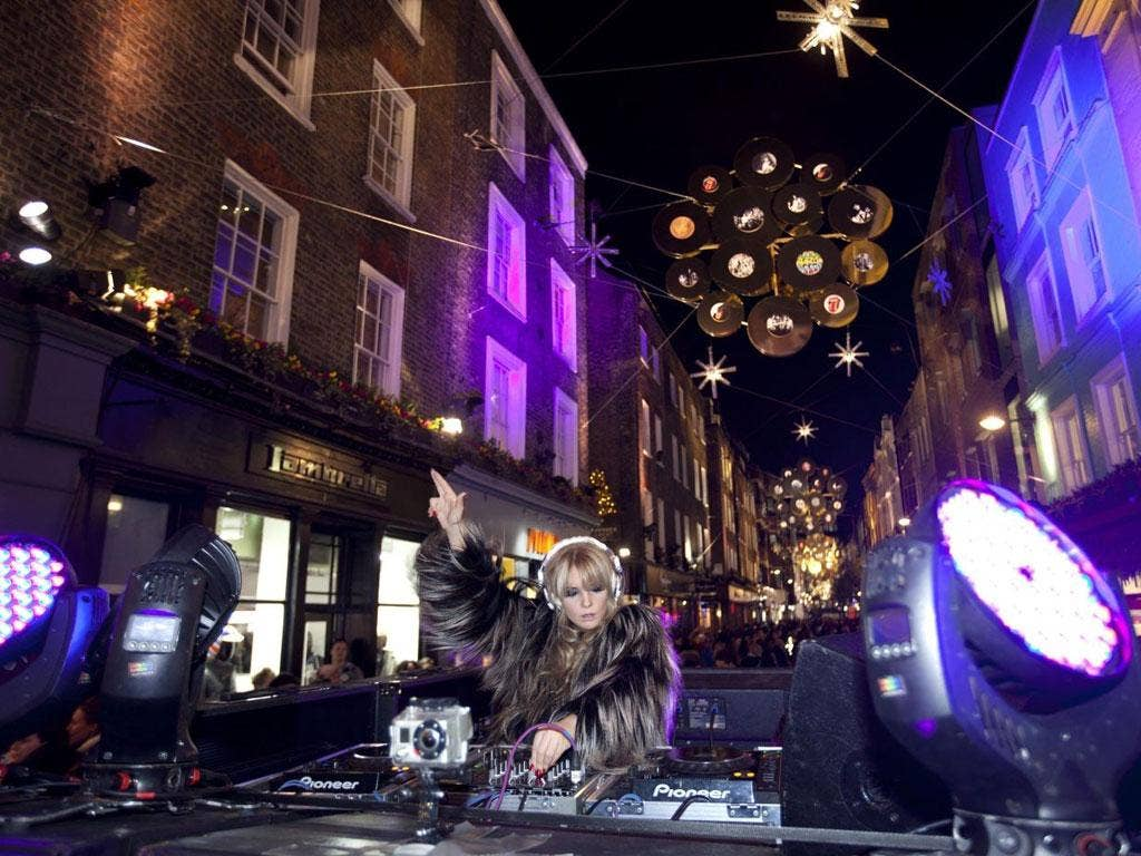 Carnaby Street's lights with a Rolling Stones theme (celebrating their 50th anniversary) were launched this week by the DJ Goldierocks