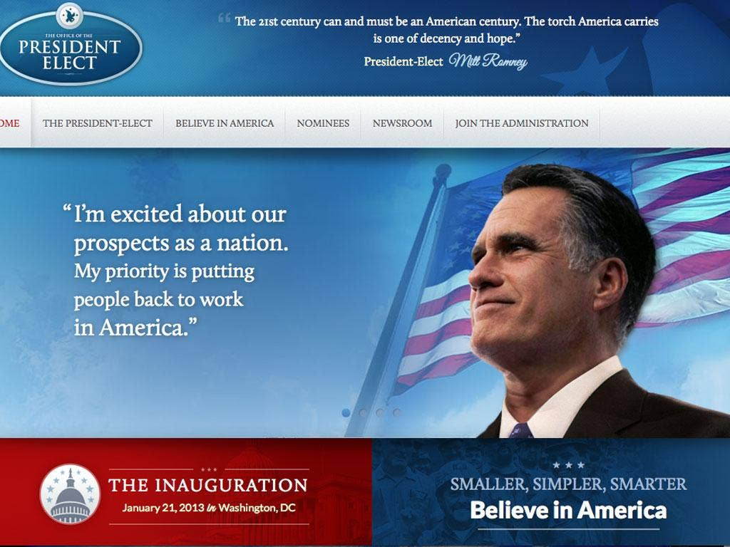 A screen shot of Romney's President Elect website