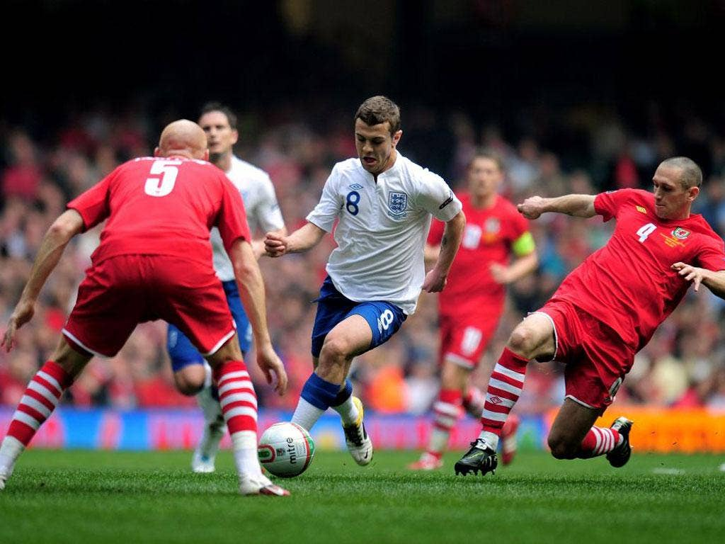 Jack Wilshere, whose talents are in demand, in action for England against Wales