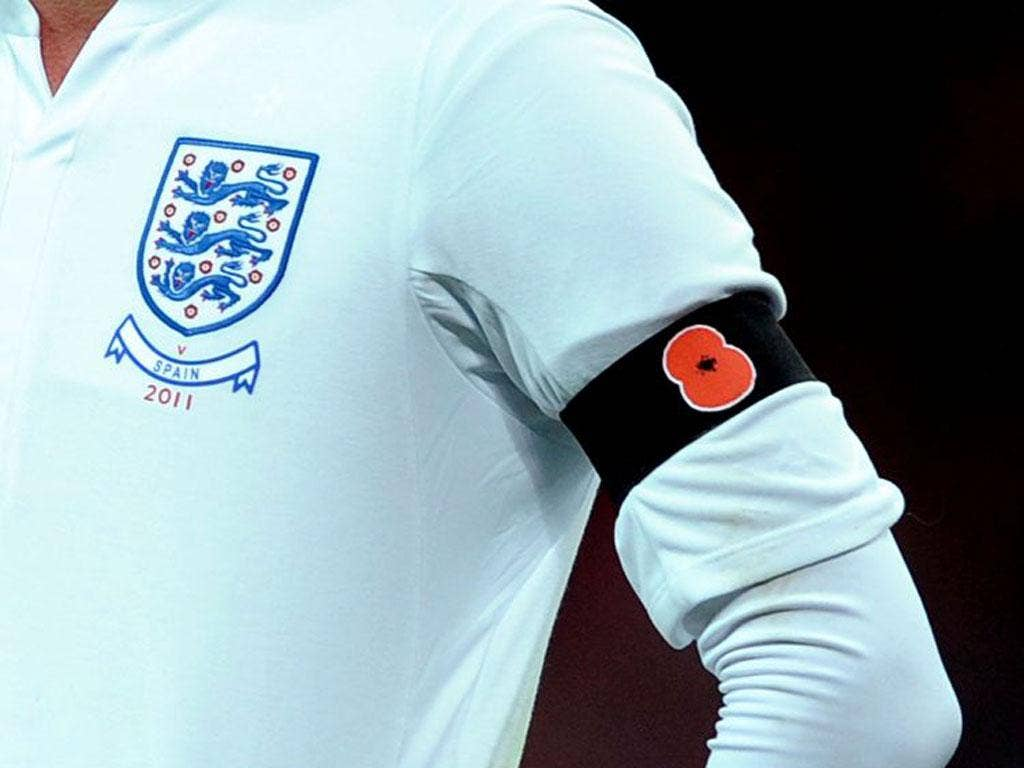 England played Spain the day after Armistice Day last year, with the team wearing poppies
