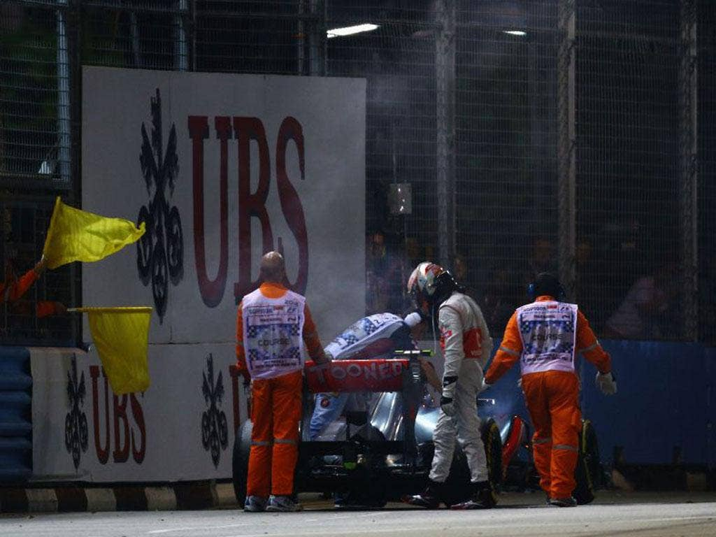 Lewis Hamilton was leading in Singapore until a gearbox failure