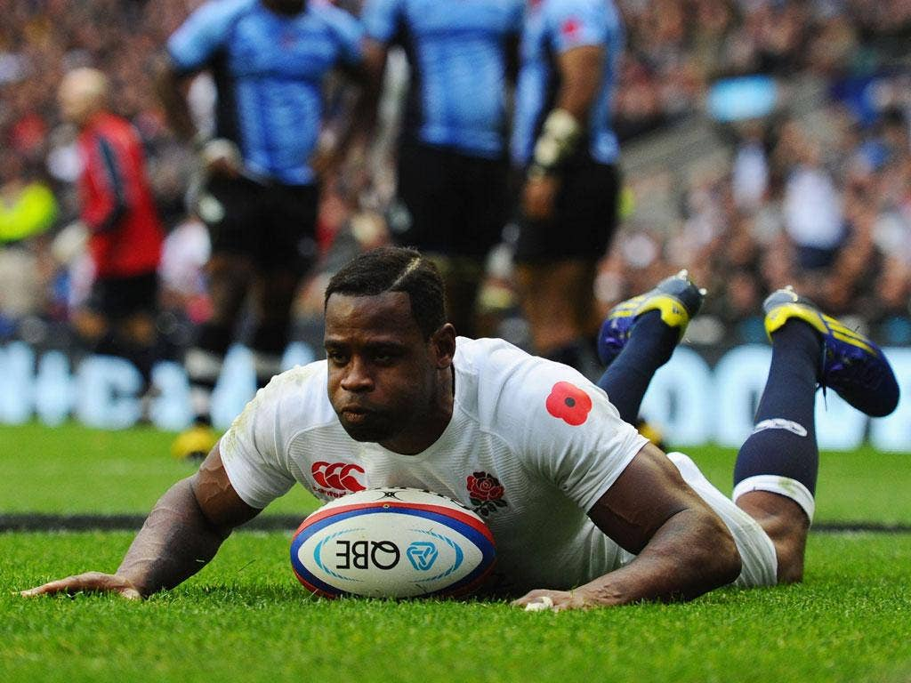 Back in the groove: Ugo Monye goes over for his comeback try