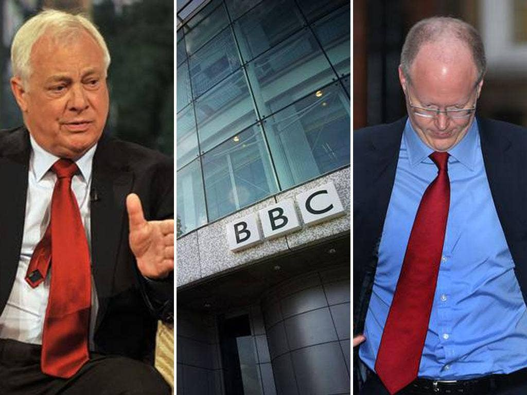 The BBC chairman Chris Patten (left) has been commenting after last night's resignation of the BBC Director General George Entwistle (right)
