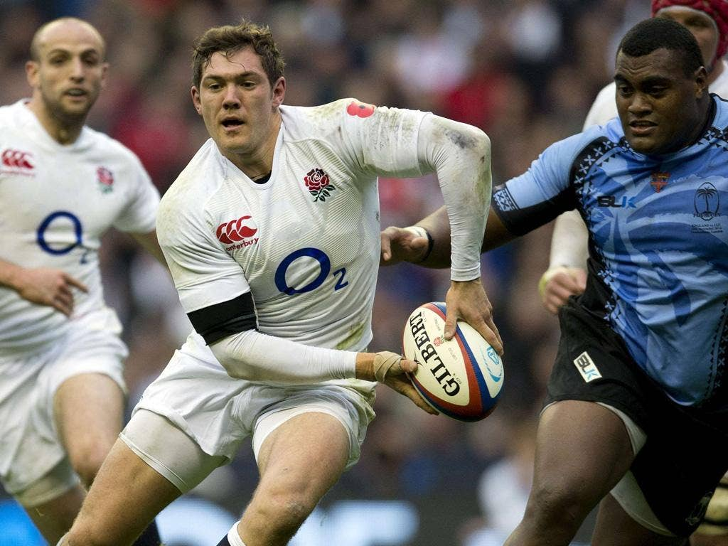 Alex Goode makes a break against Fiji at Twickenham
