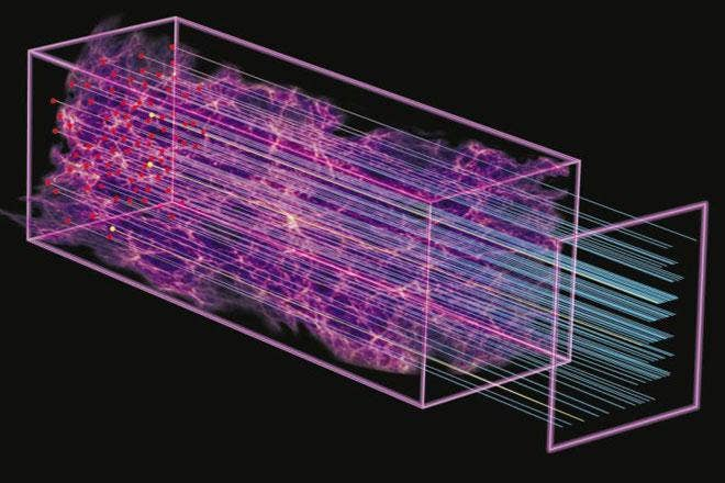 A University of Portsmouth of an illustration showing how the Sloan Digital Sky Survey was able to measure the distant universe