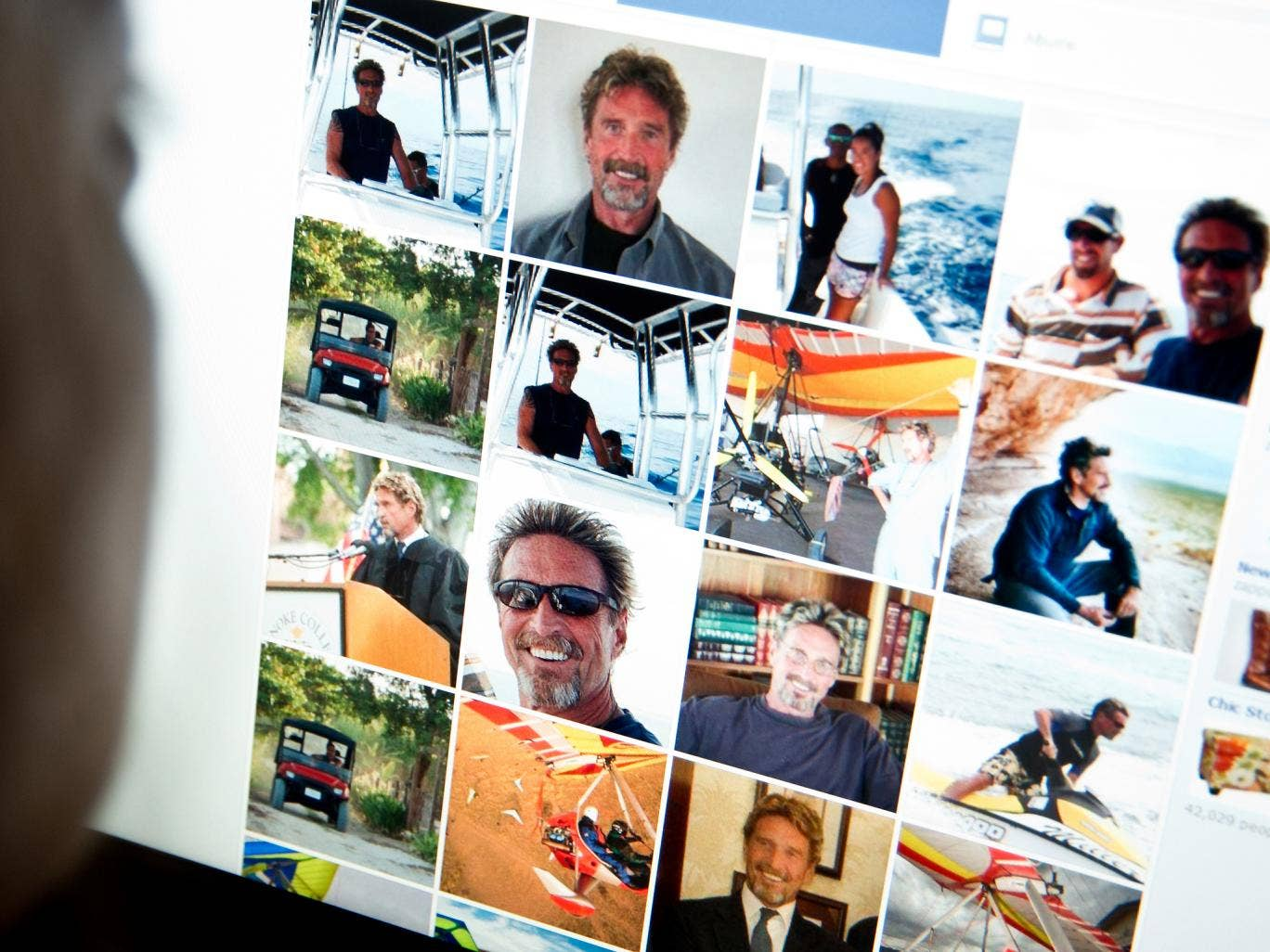 An internet users viewing a facebook page belonging to John McAfee