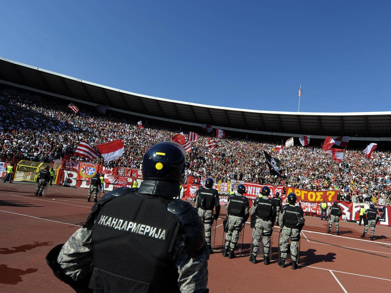 The derby on Saturday is likely to be played under tight security monitored by mounted and riot police amid fears of crowd trouble, which has plagued Serbian soccer in the past 20 years