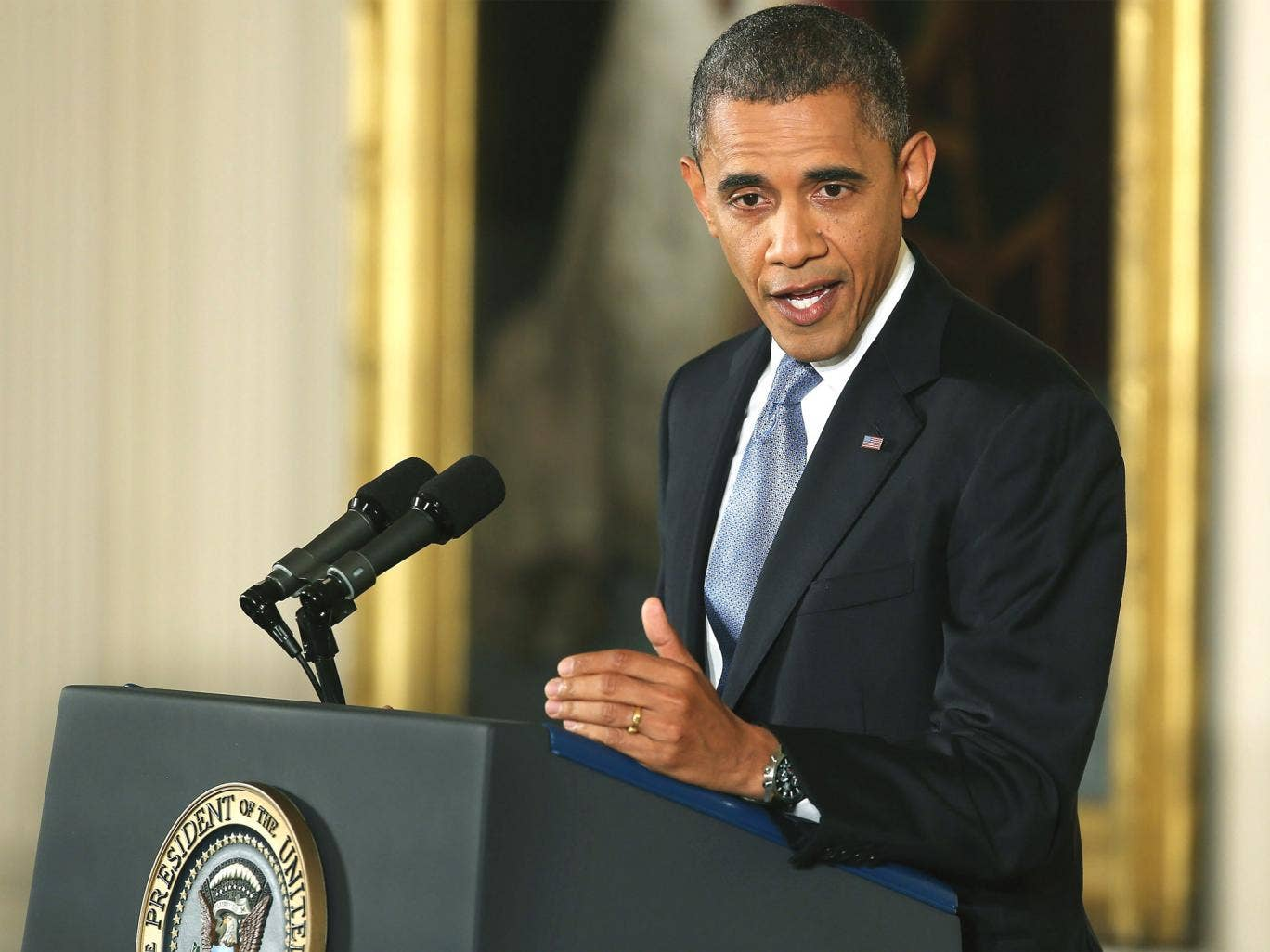 President Barack Obama during the press conference at the White House