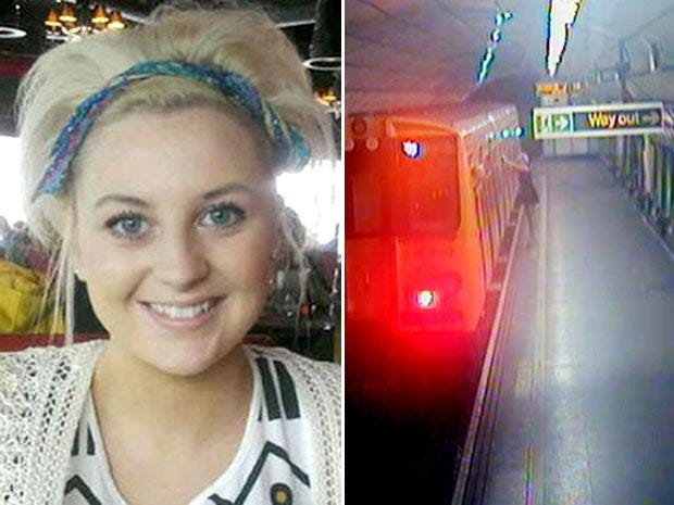 Georgia Varley (left) at James Street station in Liverpool (right) just moments before she was killed after falling in between the train and the platform as the train pulled away