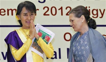Aung San Suu Kyi and Indian Congress Party leader Sonia Gandhi.