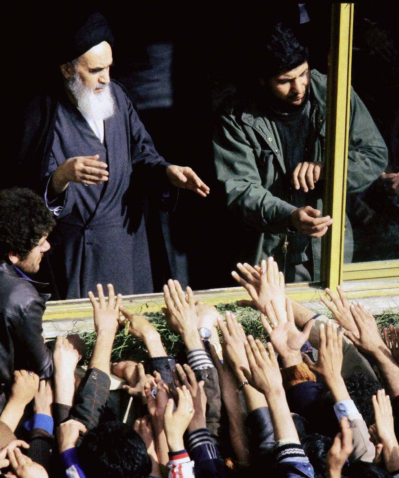 The saviour? Ayatollah Khomeini returns to Iran during the revolution of 1979