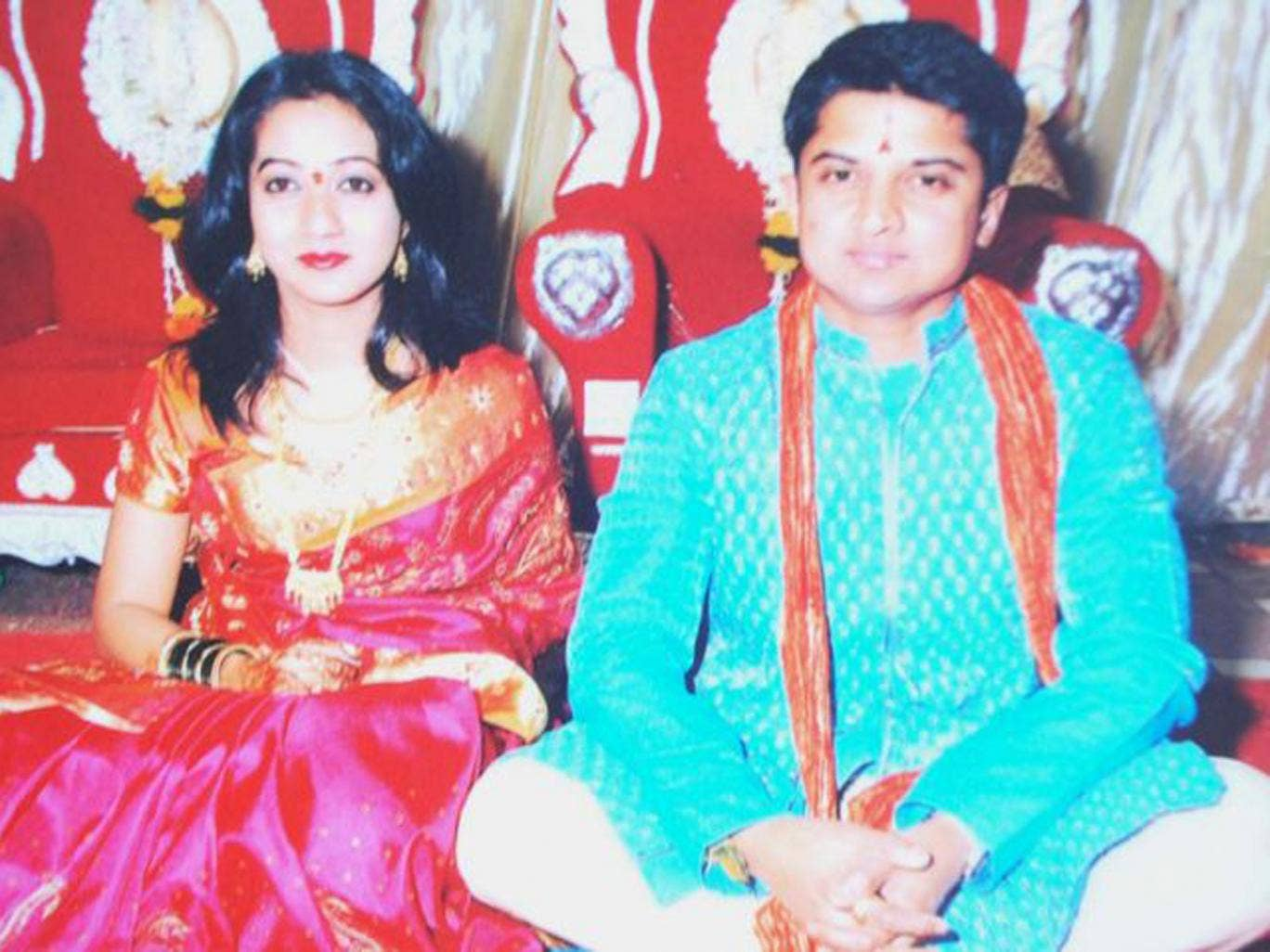Savita and Praveen Halappanavar on their wedding day in 2008
