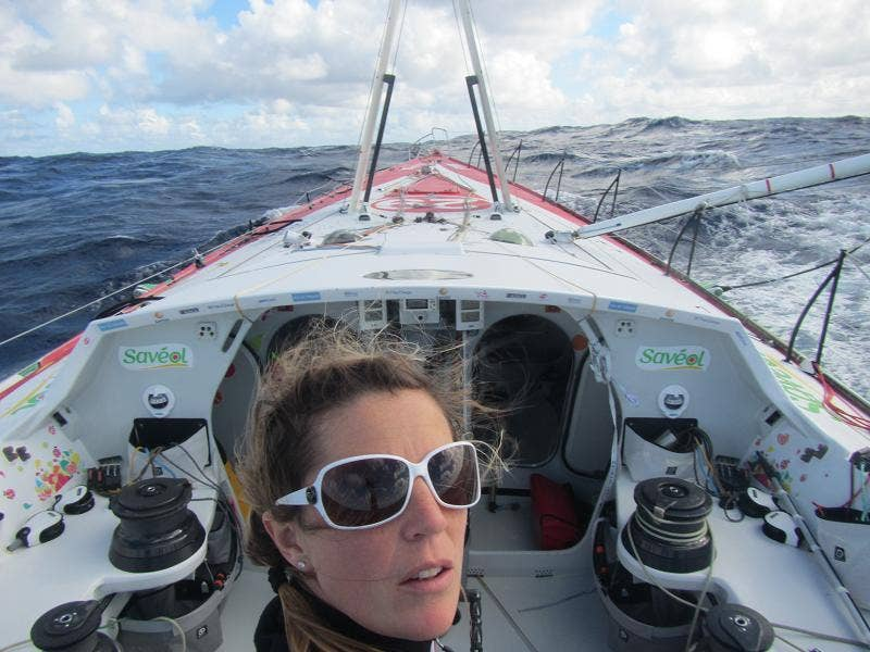 Clear decks after Sam Davies had cut away all the debris and rigging when dismasted in the Vendée Globe singlehanded round the world race and began motoring to Madeira, where she is due Friday