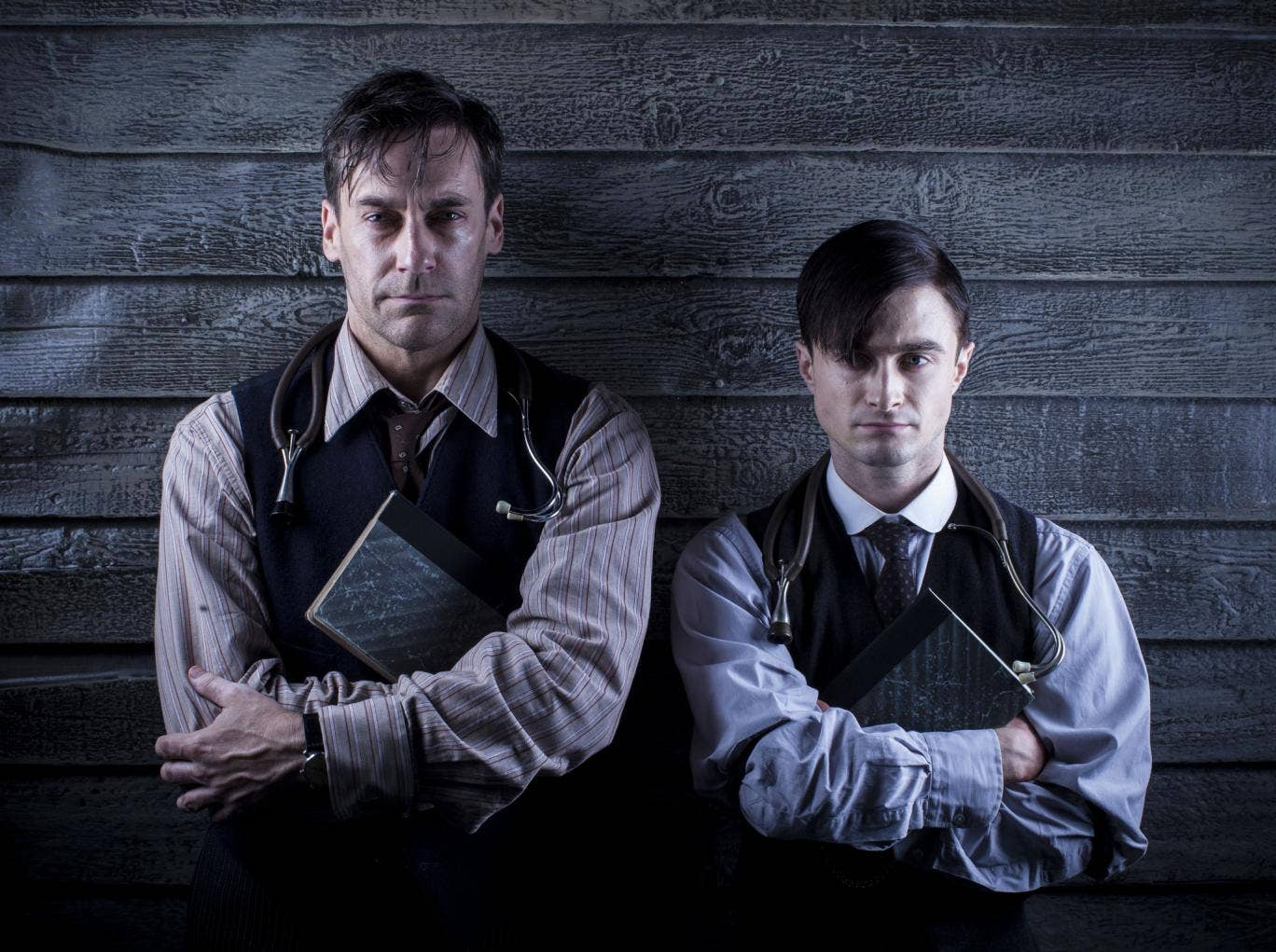 Jon Hamm and Daniel Radcliffe, in A Young Doctor's Notebook