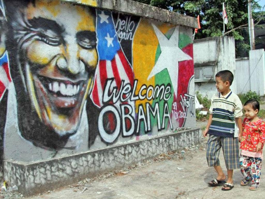A Burmese graffiti artist welcomes Barack Obama for his first visit
