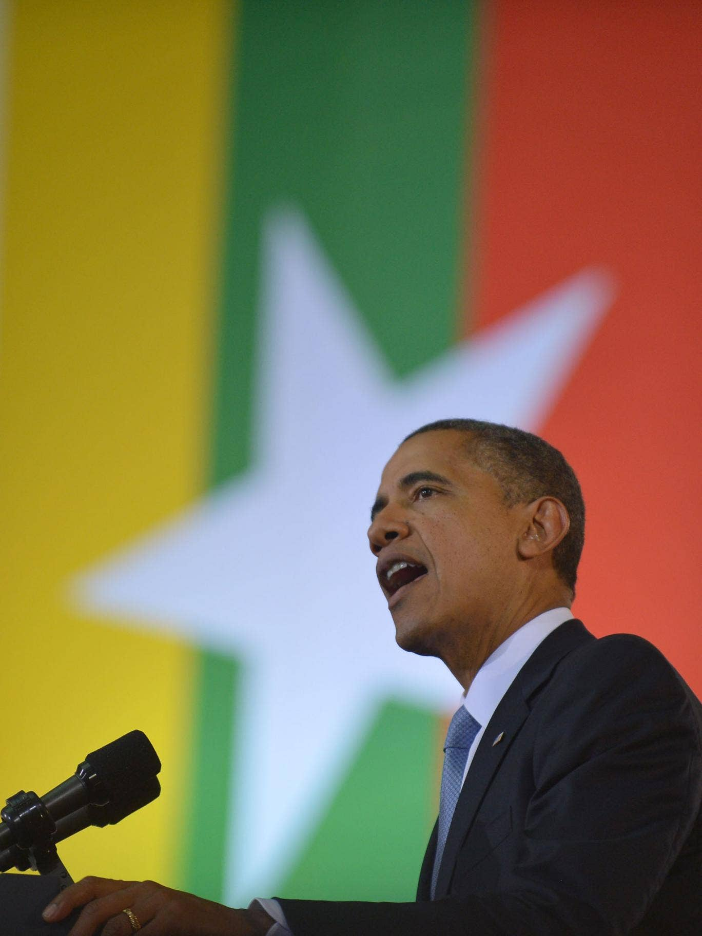US President Barack Obama speaks at the University of Yangon in Yangon on November 19, 2012. Huge crowds greeted Barack Obama in Myanmar on the first visit by a serving US president to the former pariah state to encourage a string of startling political r