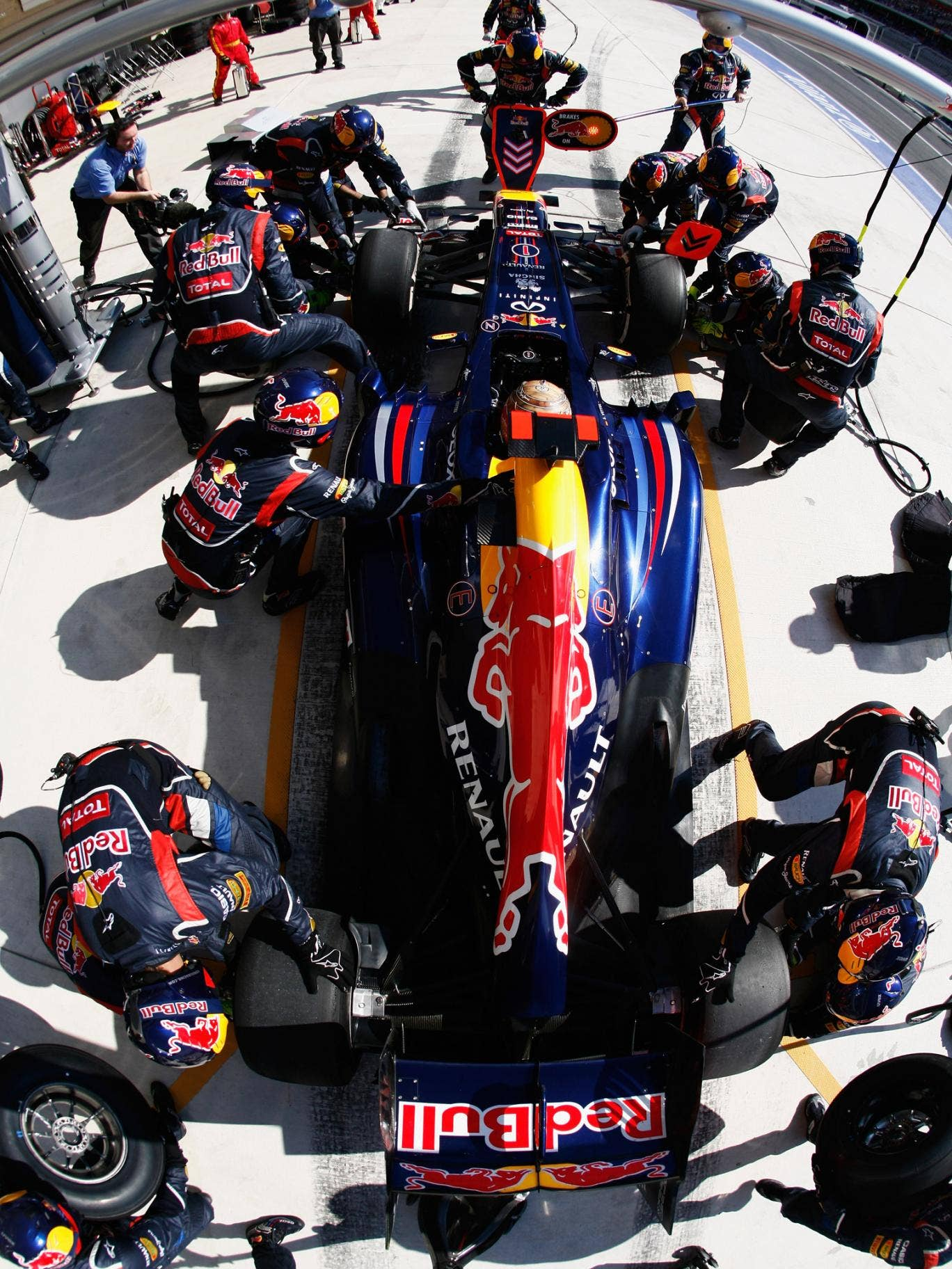 Sebastian Vettel pictured during a pit stop
