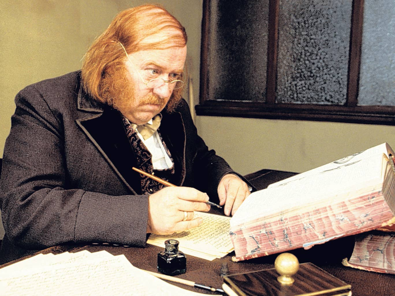 Hammond as the pawnbroker Jabez Wilson in Granada's adaptation of 'The Red-Headed League'