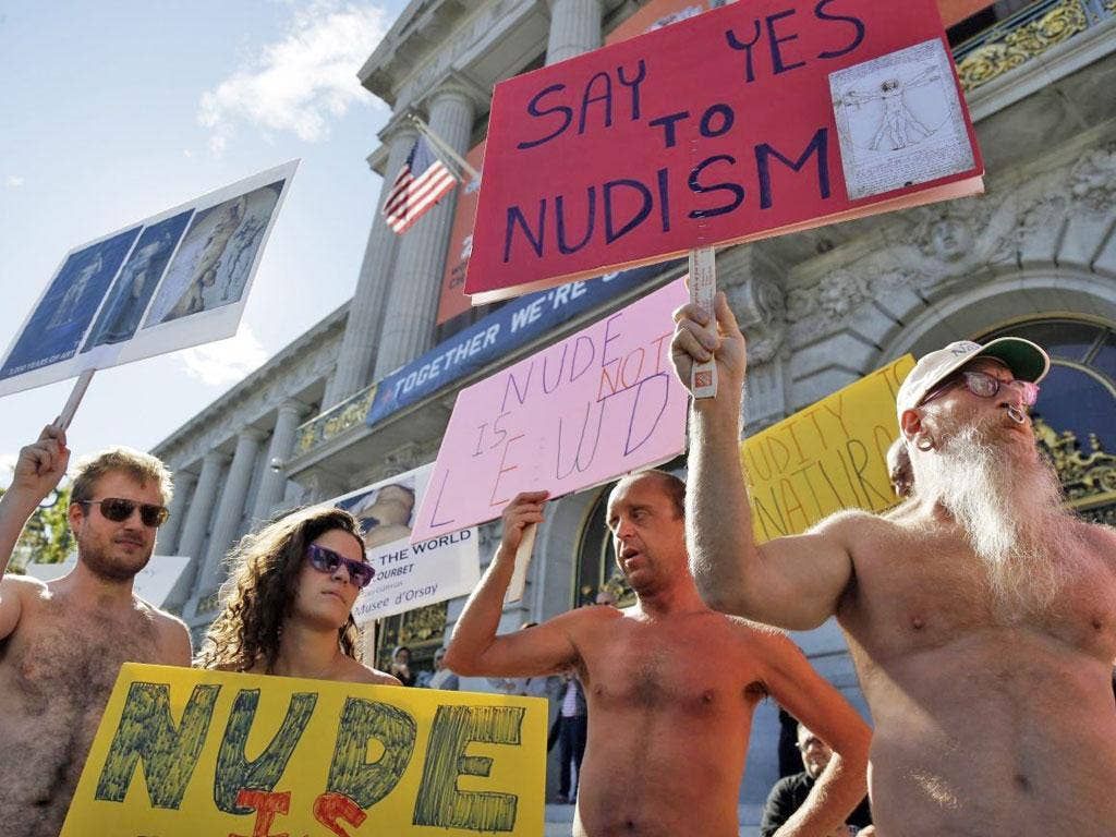 Naked demonstrators protest outside San Francisco City Hall last week against the proposed nudity ban