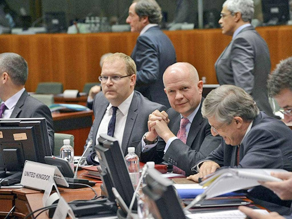 William Hague meets EU foreign ministers yesterday