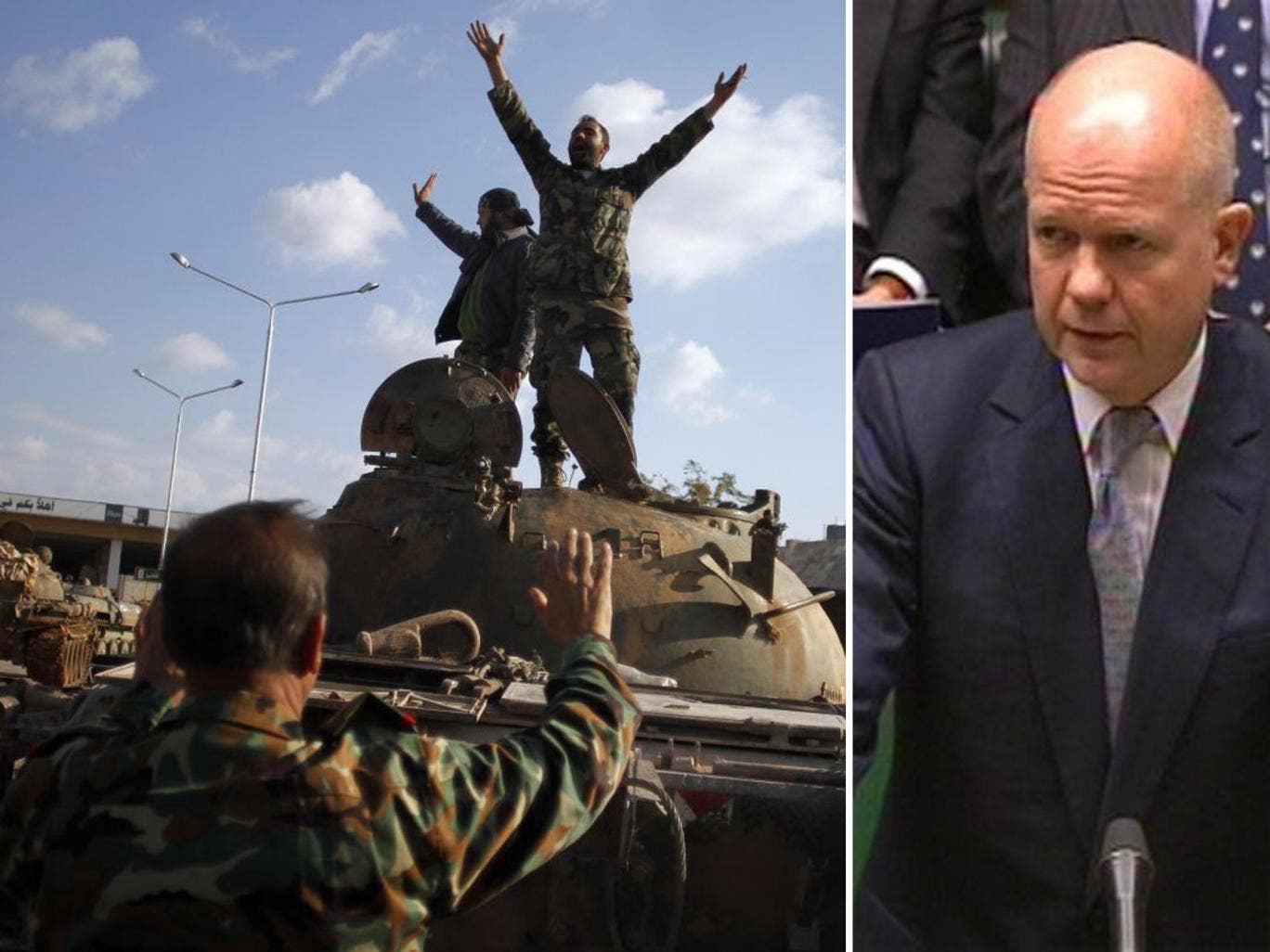 Syrian rebels celebrate the victory on top of a tank they took after storming a military base in Aleppo yesterday. William Hague, left, said the UK recognised the rebels as the 'sole legitimate representative' of the Syrian people today