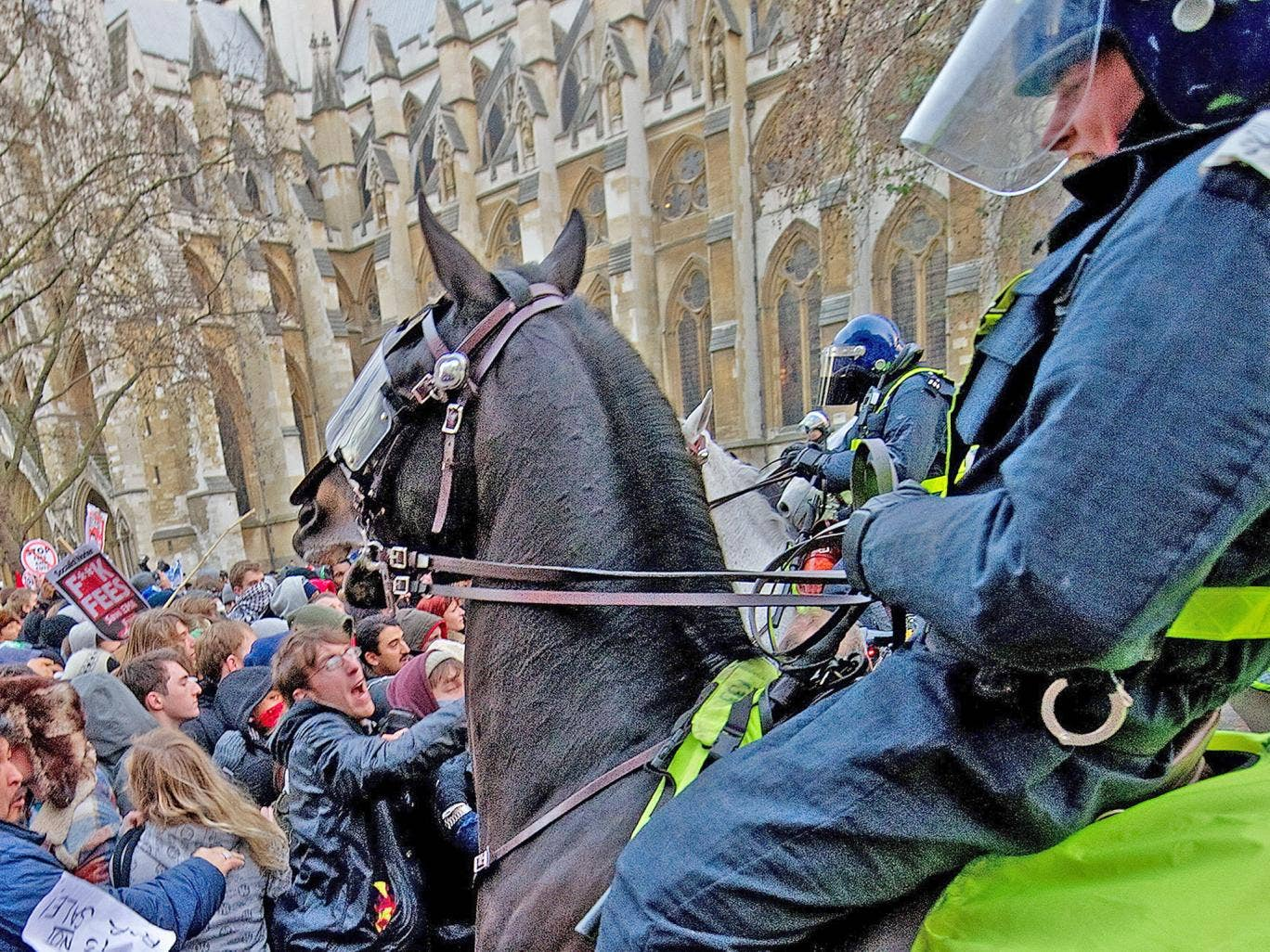 Mounted police during student protests in London