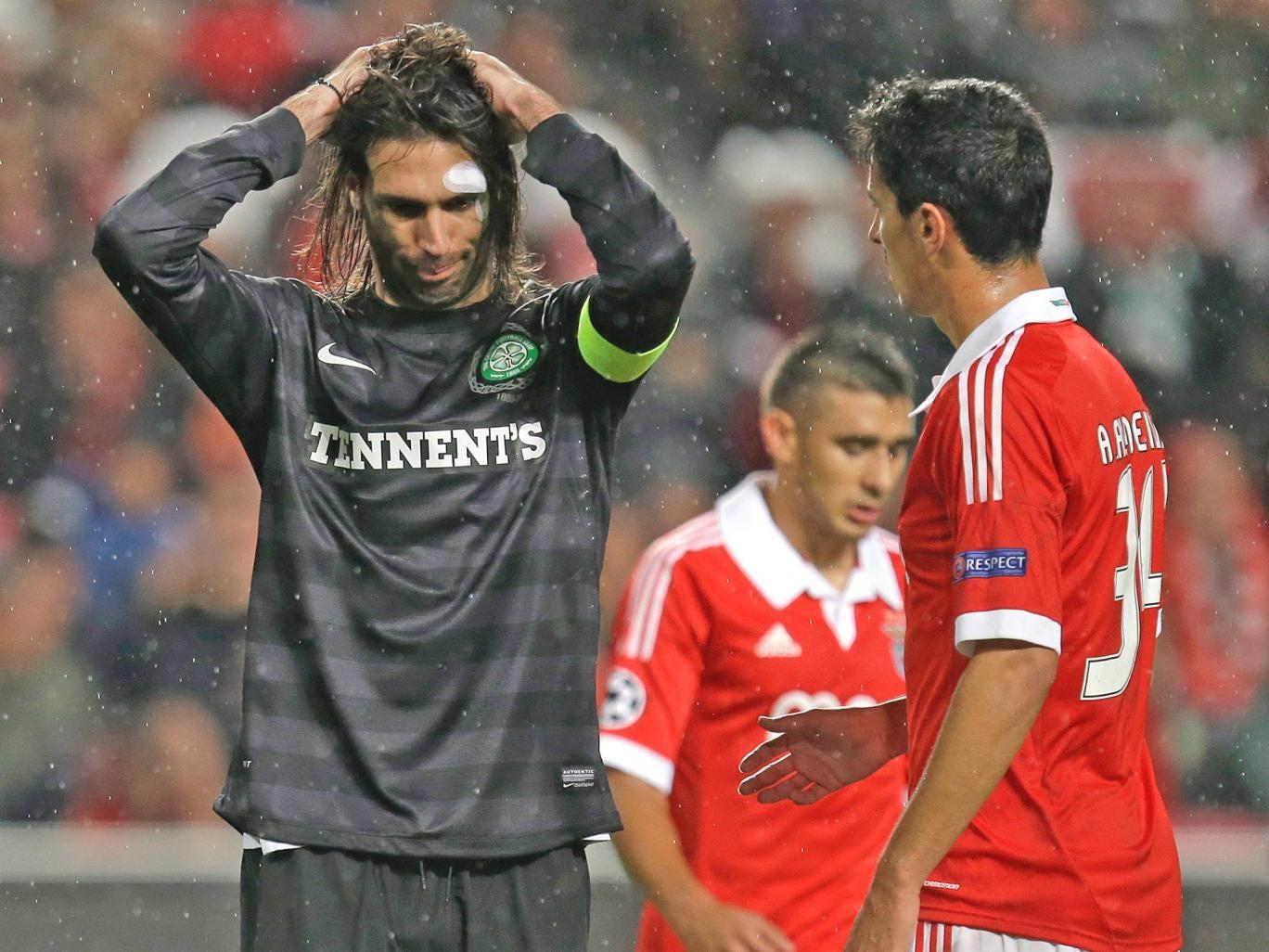 Georgios Samaras looks dejected after Celtic's defeat