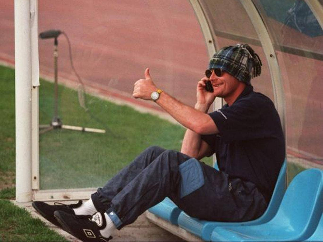 Gazza tries to stay undercover while with Lazio in 1995