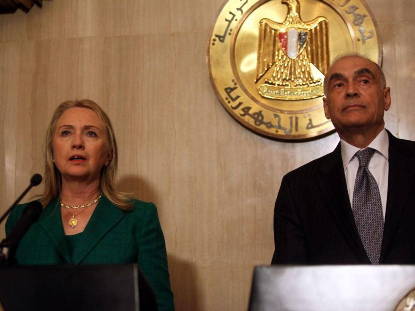 Hillary Clinton and Egyptian Foreign Minister Mohamed Kamel Amr announced the ceasefire