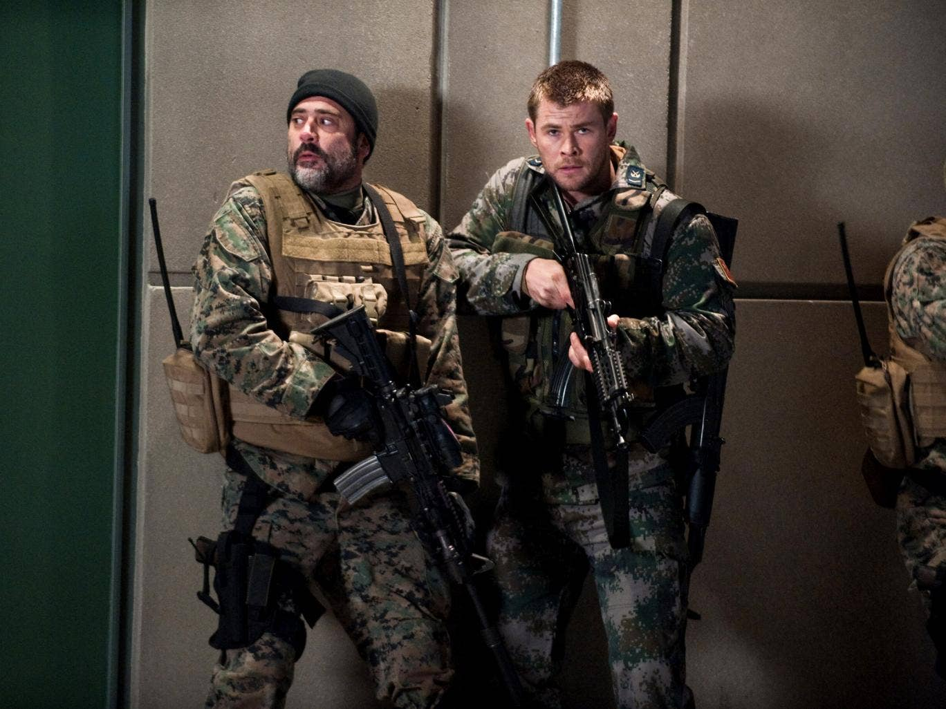 This film image released by Film District shows Jeffrey Dean Morgan, left, and Chris Hemsworth