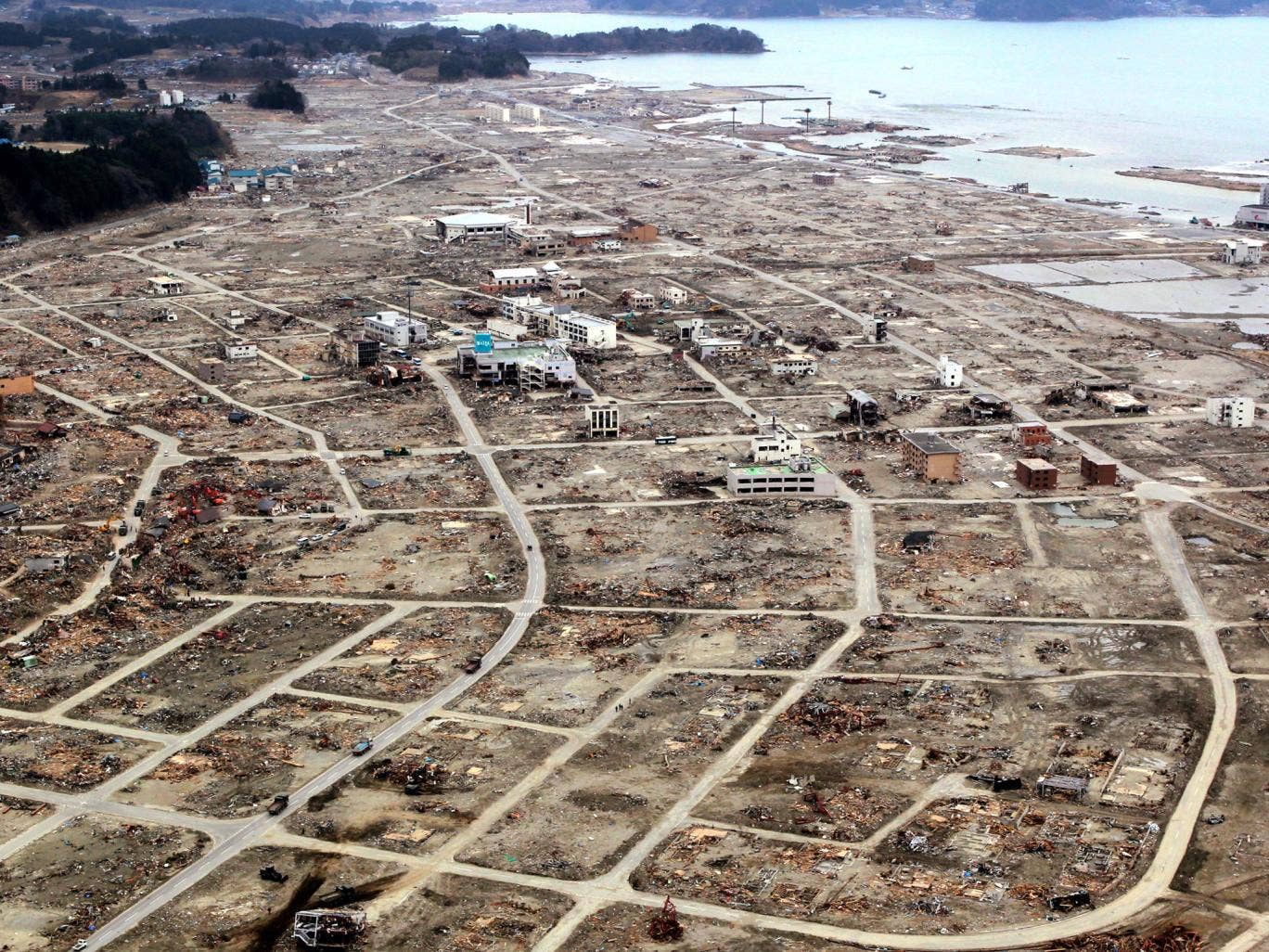 An aerial view of Rikuzentakata City a month after the earthquake