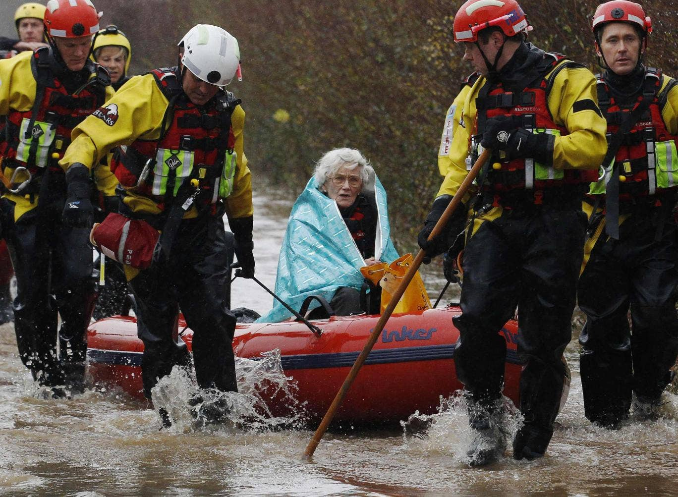 Rescued: The scene in Somerset yesterday