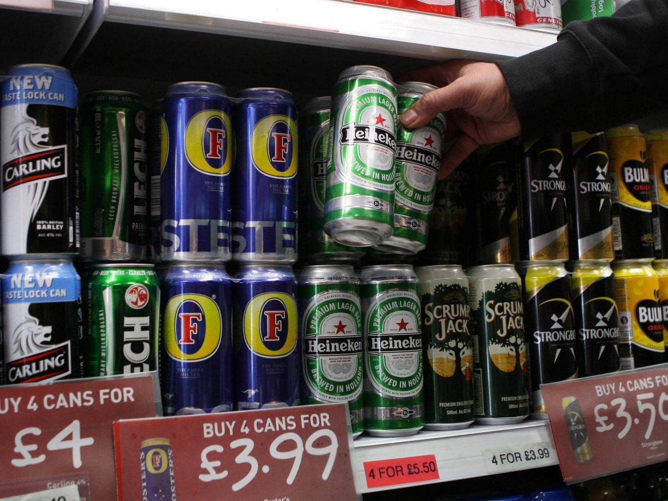 Cans of lager on supermarket shelf