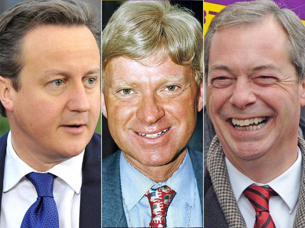 Composite of David Cameron, Michael Fabricant and Nigel Farage